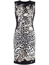Roberto Cavalli Leopard Print Fitted Dress Black