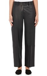 Helmut Lang Women's Leather Cropped Pants Black