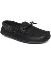 Club Room Men's Slippers Aaron Sherpa Lined Moccasins Black