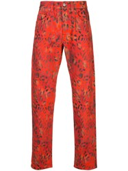 Napapijri Leopard Print Trousers Red