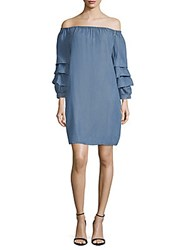 Beach Lunch Lounge Off The Shoulder Shift Dress Medium Blue