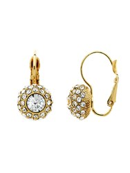 Monet Gold Pave Crystal Leverback Earrings Gold