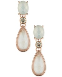 Anne Klein Gold Tone Faceted Stone Drop Earrings Rose Gold