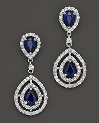 Bloomingdale's Sapphire And Diamond Teardrop Earrings In 14K White Gold White Gold Sapphires