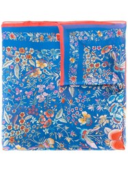 Roberto Cavalli Floral Patterned Scarf Blue