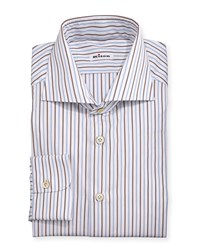 Kiton Multi Striped Woven Dress Shirt Blue Brown White Men's Size 15.5