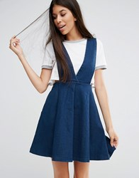 Goldie Take Me Away Stretch Denim Pinafore Dress Blue