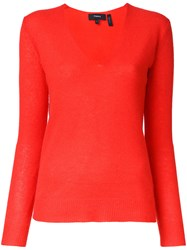 Theory V Neck Jumper Red
