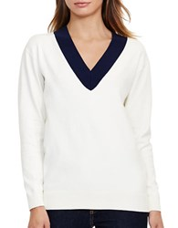 Lauren Ralph Lauren Relaxed V Neck Sweater Ivory