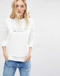 Mango Not Perfect Logo Sweatshirt White