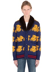 Gucci Bears Jacquard Cardigan W Fur Collar