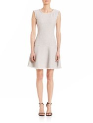 Rebecca Taylor Sleeveless Stretch Tweed Fit And Flare Dress Grey