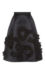 Dice Kayek Knee Length Snake Trim Skirt Black