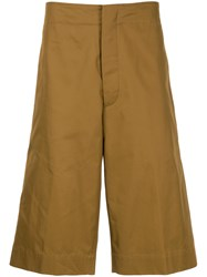 Jil Sander Over The Knee Tailored Shorts Brown