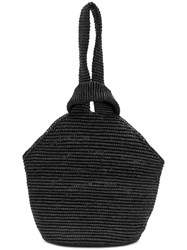 Sensi Studio Woven Top Handle Tote Black