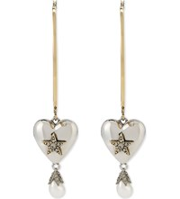 Alexander Mcqueen Heart Pearl Large Hoop Earrings Gold