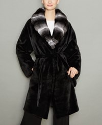 The Fur Vault Chinchilla Collar Mink Coat Black Natural