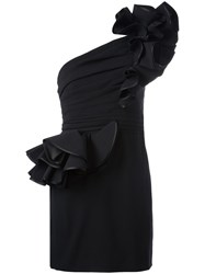 Dsquared2 One Shoulder Rose Dress Black