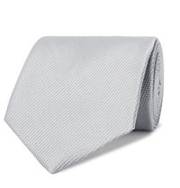 Tom Ford 8Cm Woven Tie Silver
