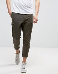 Selected Homme Cargo Trouser In Anti Fit Black Olive Green