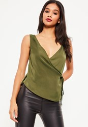 Missguided Khaki Satin Wrap Tie Cami Top
