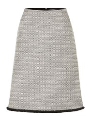 Ellen Tracy A Line Tweed Skirt With Fringed Hem Grey