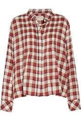 Current Elliott The Lucy Pintucked Plaid Cotton Blend Shirt Multi