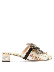 Gucci Crystal Embellished Satin Backless Loafers Pink White