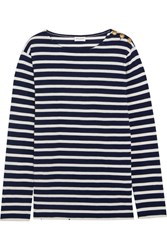 Saint Laurent Button Detailed Striped Cotton Jersey Top Midnight Blue