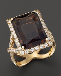 Bloomingdale's Smokey Topaz And Diamond Statement Ring In 14K Yellow Gold Gold Brown