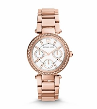 Michael Kors Mini Parker Pave Rose Gold Tone Watch