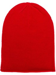 Allude Fine Knit Beanie Red