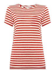 Part Two Stripe Round Neck Tee With Pocket Red