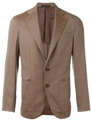 Caruso Classic Blazer Men Cupro Wool 50 Brown