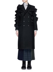 Facetasm 'Wow' Pleat Ruffle Trim Wool Coat Black