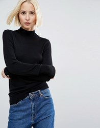 Asos Jumper With Turtle Neck In Soft Yarn Black
