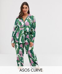 Asos Design Curve Palm And Shell Pyjama Trouser Set In 100 Modal Multi