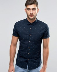 Asos Short Sleeve Anchor Print Shirt In Skinny Fit Navy