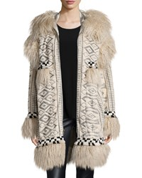Anna Sui Mongolian Faux Fur And Viking Embroidered Coat Ivory