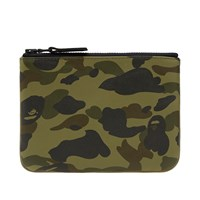 A Bathing Ape 1St Camo Leather Wallet S Green