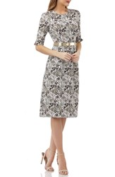 Kay Unger Elbow Sleeve Belted Sheath Dress Ivory Multi