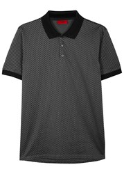 Hugo Chevron Print Cotton Polo Shirt Grey
