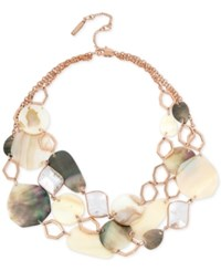 Kenneth Cole New York Rose Gold Tone Multi Shell And Stone Statement Necklace