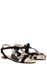 Repetto Bobo Patent Leather And Suede Sandals Black