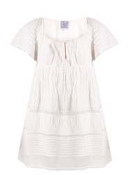 Thierry Colson Raffia Ruched Cotton Blend Voile Dress White