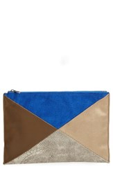 Sole Society Steph Patchwork Clutch Blue Cobalt Gold