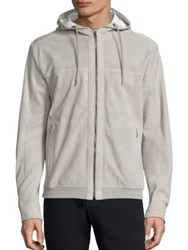Saks Fifth Avenue Suede Perforated Hoodie Light Grey