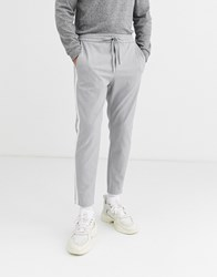 Only And Sons Side Stripe Trousers In Grey