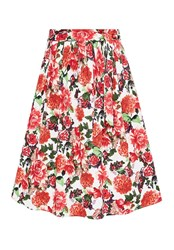 Hallhuber Floral Midi Skirt With Self Tie Belt Multi Coloured Multi Coloured