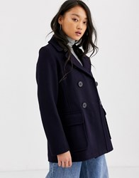 Gloverall Gloveral Reefer Double Breasted Wool Blend Coat Navy